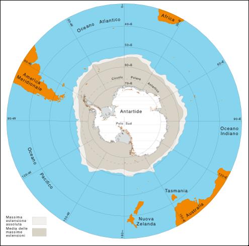 Estensione del pack o ghiaccio marino durante l'inverno australe.