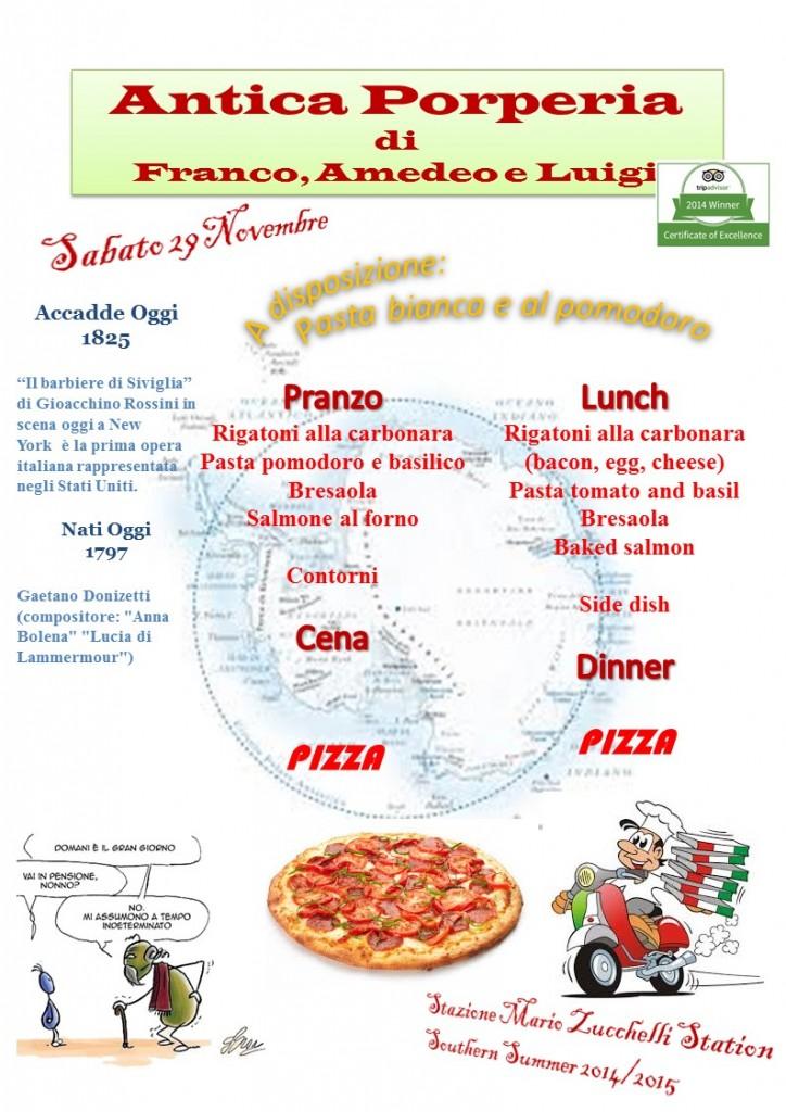 Il menù di oggi. E' sabato ed è prevista pizza. Copyright PNRA.
