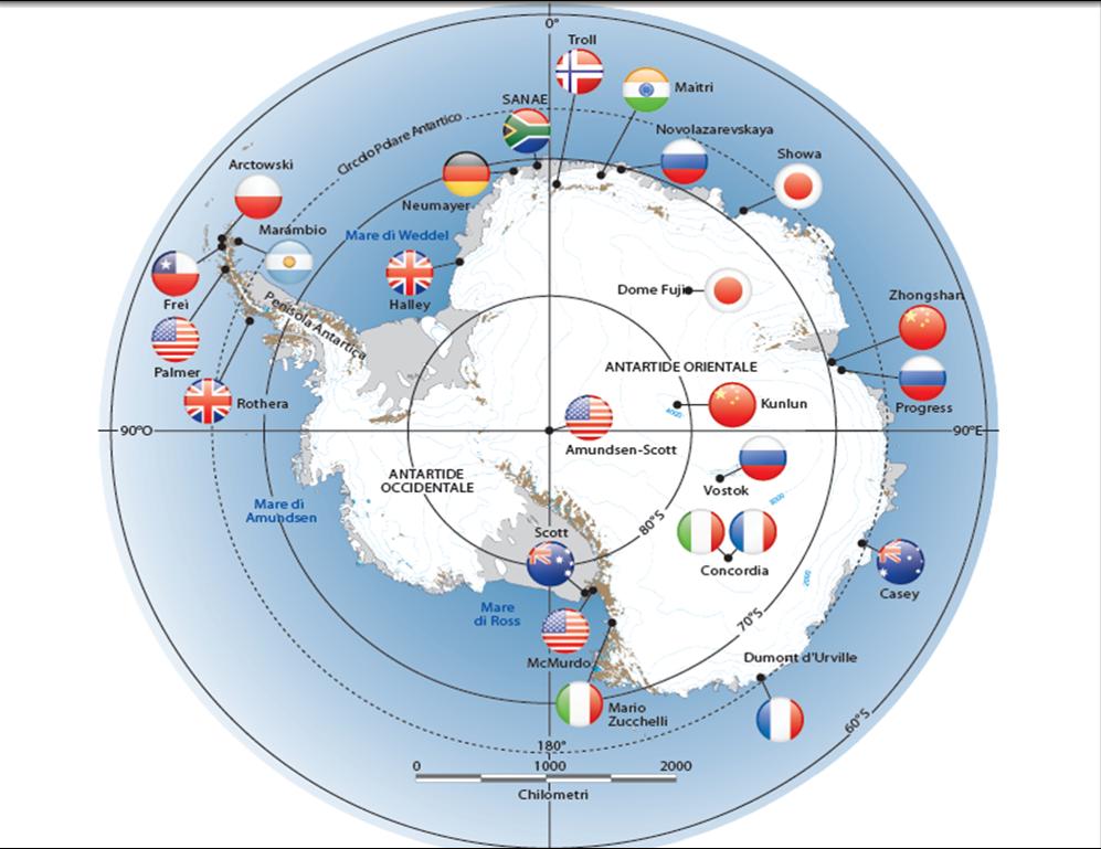 Un'immagine non del tutto aggiornata della collocazione delle basi antartiche. Avere una stazione di ricerca in Antartide è condizione necessaria per aderire al Sistema del Trattato Antartico.